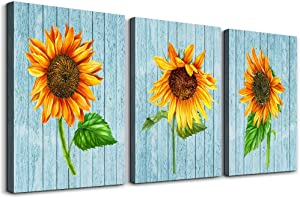 Canvas Wall Art for Bedroom kitchen Bathroom Wall Decor Blue wood grain Green leaves and Yellow sunflower painting Artwork wall decorations for Living Room 3 Panels restaurant Home decoration pictures