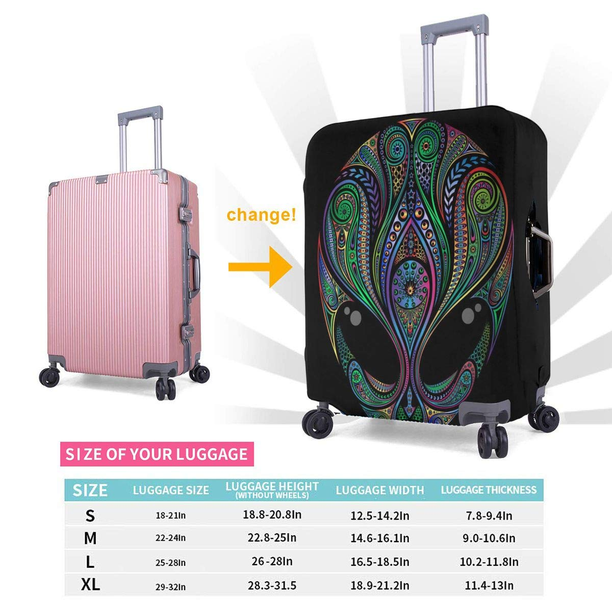 Alien Travel Luggage Cover Suitcase Protector Washable Zipper Baggage Cover