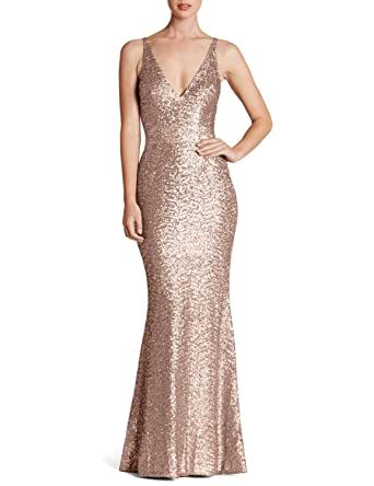 Jicjichos Womens V Neck Sequin Mermaid Prom Dresses Long Formal Gowns Size 2 Rose Gold