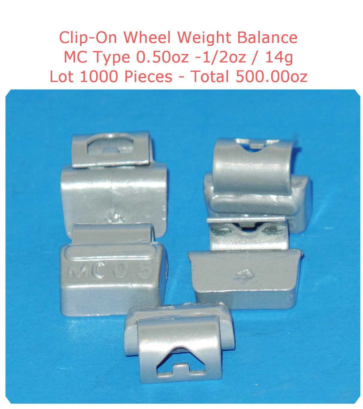 (500 Pieces) ZN CLIP-ON WHEEL WEIGHT BALANCE 0.50 1/2oz MC Type Total250.00oz (Use for All Types of Alloy wheels On Passenger Cars , Trucks , Vans & Motorcycles)