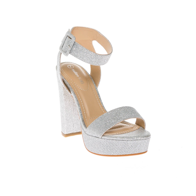 CALICO KIKI Women's Shoes Buckle Ankle Strap Open Toe Chunky High Heel Platform Dress Sandals B07B6GHBFZ 10 B(M) US|Silver Glitter