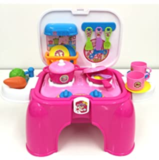 skp deao kit de cocina para nios taburete maletn portable