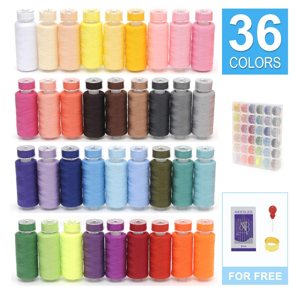 KEIMIX 72Pcs Prewound Bobbins with Case & Sewing Threads Kits, 36 Colors Polyester 300 Yards Per Spools for Hand & Machine Sewing by KEIMIX