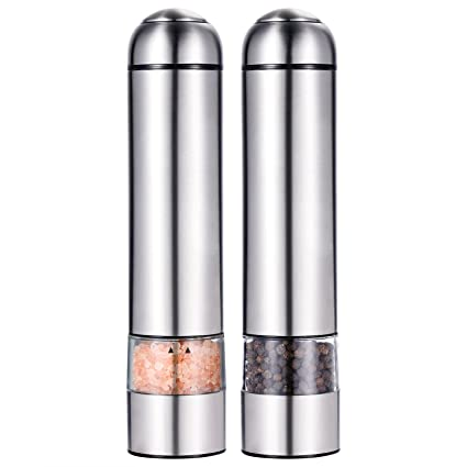 Salt and Pepper Shakers, SURPEER Electric Adjustable Pepper Grinder with Strong Battery Powered - Ceramic Grinder Core - Automatic Led Light - Easy to Use