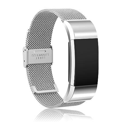 Cyeeson Fitbit Charge 2 Pulseras Ajustable de Acero Inoxidable Pulsera Correa de Repuesto Reloj Banda de Bastidor con Acero Inoxidable Conector para ...