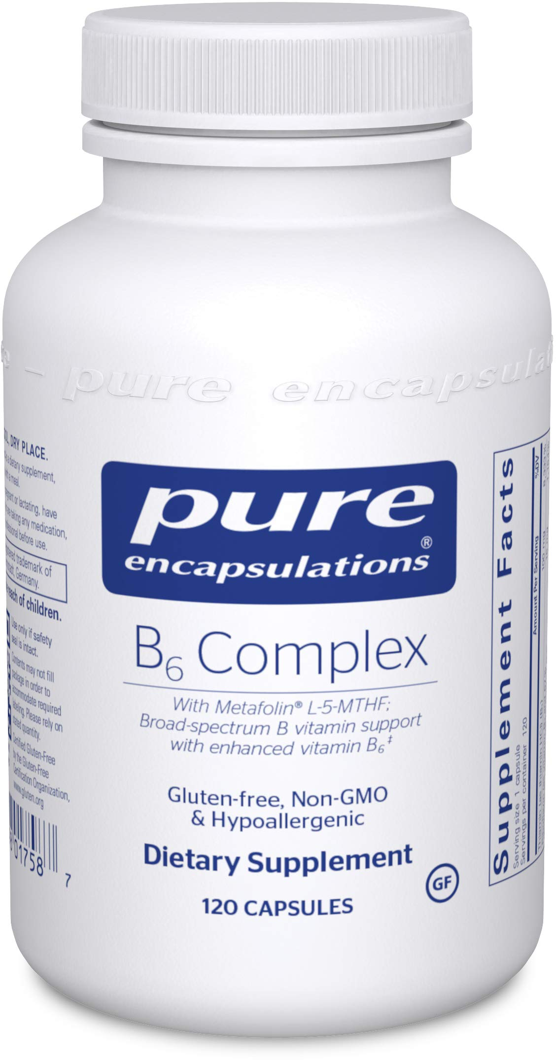 Pure Encapsulations B6 Complex | Vitamin B6 Supplement to Support Cellular, Cardiovascular, Neurological, and Psychological Health* | 120 Capsules