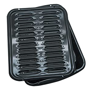 Range Kleen Broiler Pans for Ovens - BP102X 2 Pc Black Porcelain Coated Steel Oven Broiler Pan with Rack 16 x 12.5 x 1.6 Inches (Black)