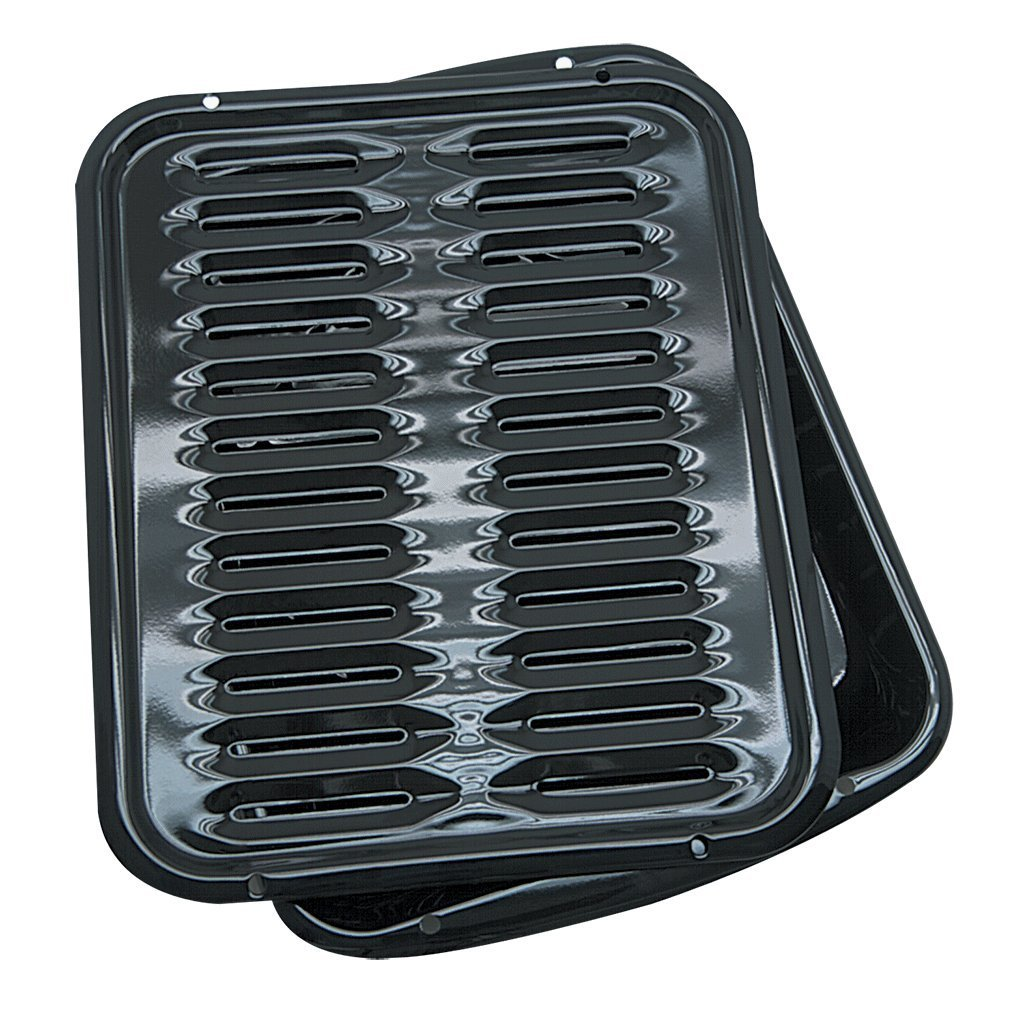 Range Kleen Broiler Pans for Ovens - BP102X 2 Pc Black Porcelain Coated Steel Oven Broiler Pan with Rack 16 x 12.5 x 1.6 Inches (Black) by Range Kleen