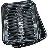 Range Kleen Broiler Pans for Ovens - BP102X 2 Pc Black Porcelain Coated Steel Oven Broiler Pan with Rack 16 x 12.5 x 1.6 Inch