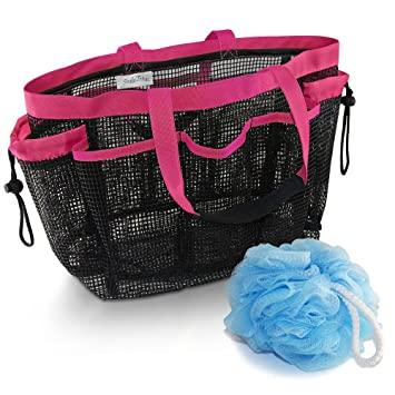 Mesh Shower Caddy And Bath Bag Organizer Tote With 9 Storage Compartments  And Two Strong Reinforced