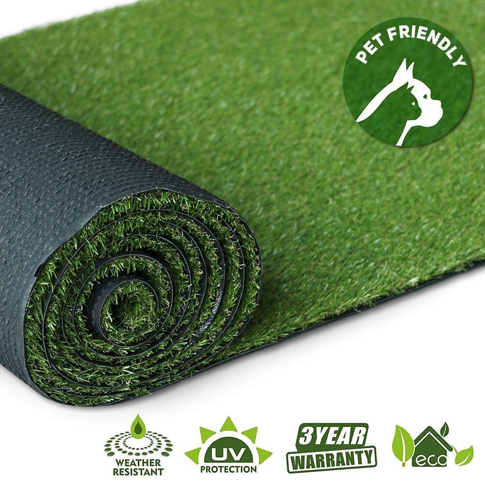 Artificial Turf Grass Lawn, 0.8inch Realistic Synthetic Grass Mat, Indoor Outdoor Garden Lawn Landscape for Pets,Fake Faux Grass Rug with Drainage Holes 3.3 FT x5 FT(16.5 Square FT)