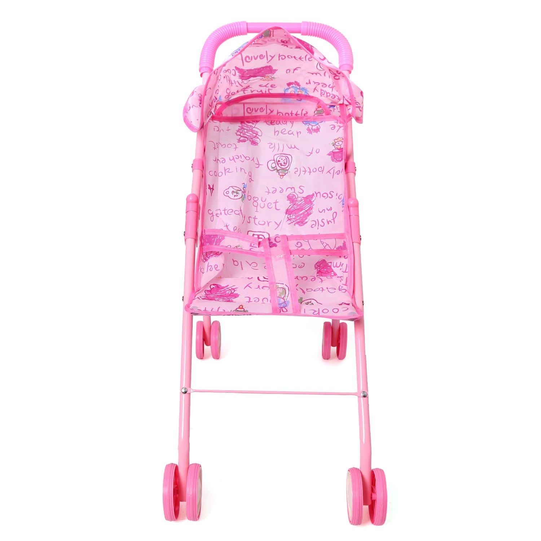 Digabi 20.5 Tall My First Doll Stroller Pink Foldable Toy Baby Stroller Doll Swivel Wheels Hood Basket No.8168 Chenghai