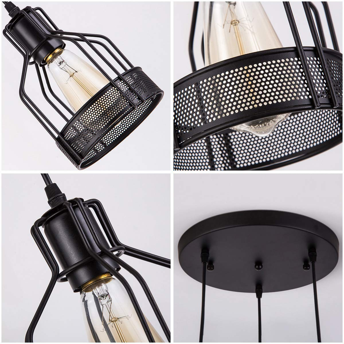 Pendant Light with Rustic Black Metal Cage Shade, Industrial Retro Matte Black Adjustable 3-Lights Hanging Lighting, Pendant lamp Fixtures for Home, Kitchen Island, Barn, Dining Room, Cafe, Farmhouse by ZYuan (Image #5)