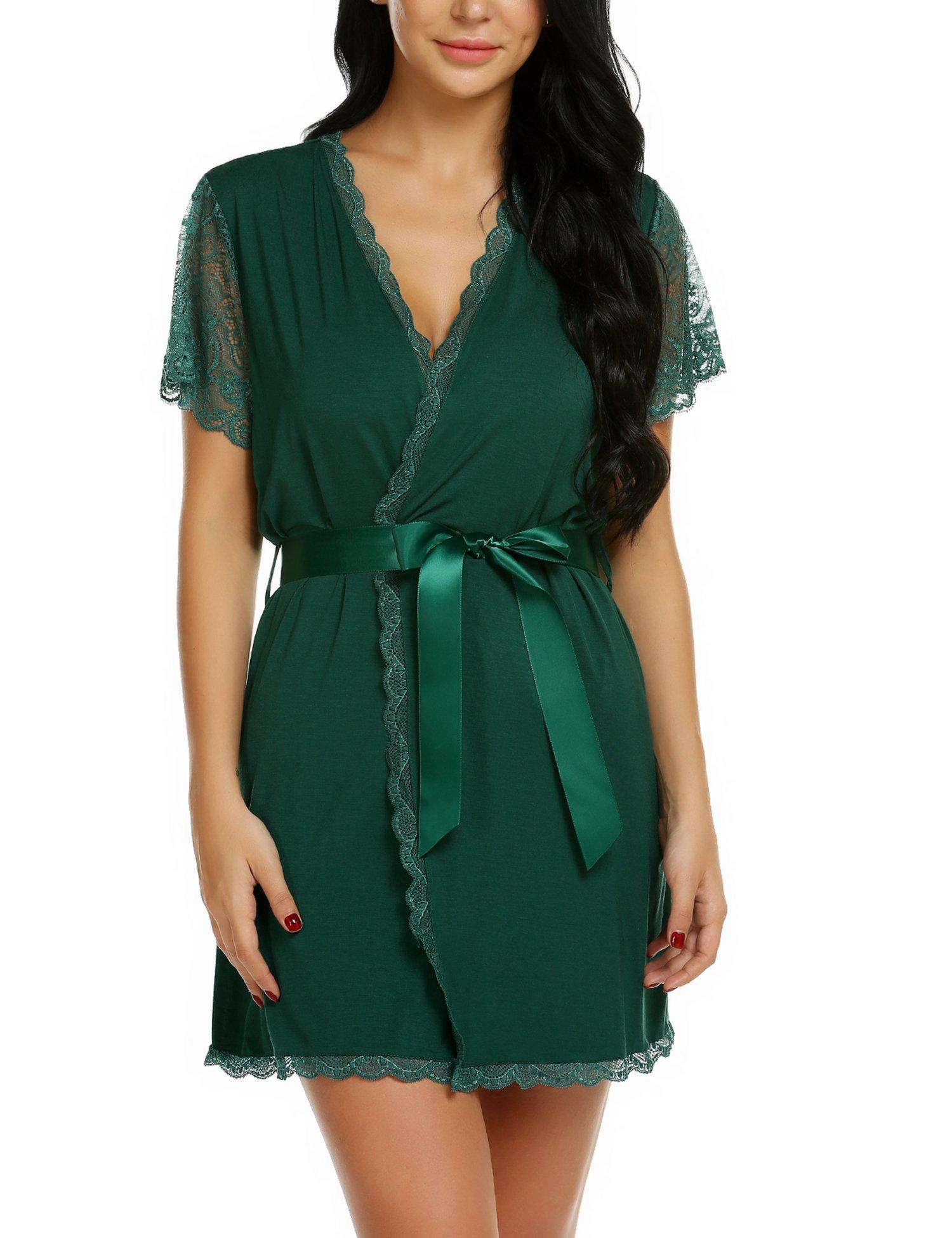 wearella Womens Short Robe Lace Trim Kimono Spa Knit Bathrobe Lightweight Loungewear Sleepwear Short by wearella (Image #1)