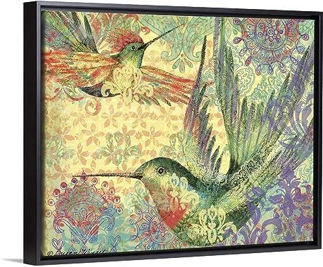 Amazon Com Hummingbird Mosaic Black Float Frame Canvas Art 47 X38 X1 75 Posters Prints
