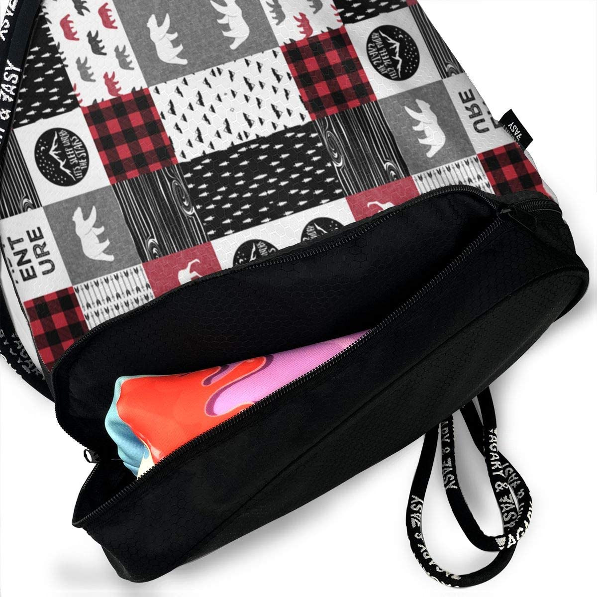 HUOPR5Q Music World Drawstring Backpack Sport Gym Sack Shoulder Bulk Bag Dance Bag for School Travel