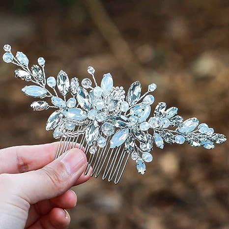 Simsly FS-106 Haarschmuck, für Brautjungfern, blauer Opal, Tanzball, für Brautjungfern, silberfarben, FS-106