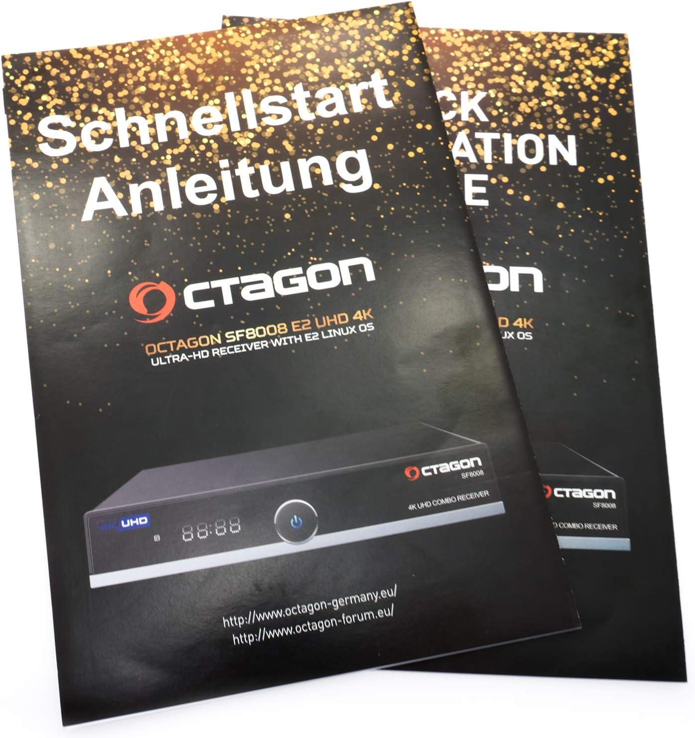 Combo 4K UHD E2 DVB-S2X /& DVB-C//T2 OCTAGON SF8008 Limited Gold Edition Dual OS