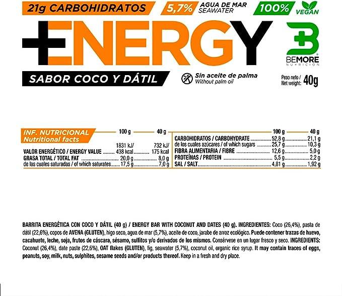 Barritas Energéticas Naturales de Coco y Dátil. Caja de 18 ...