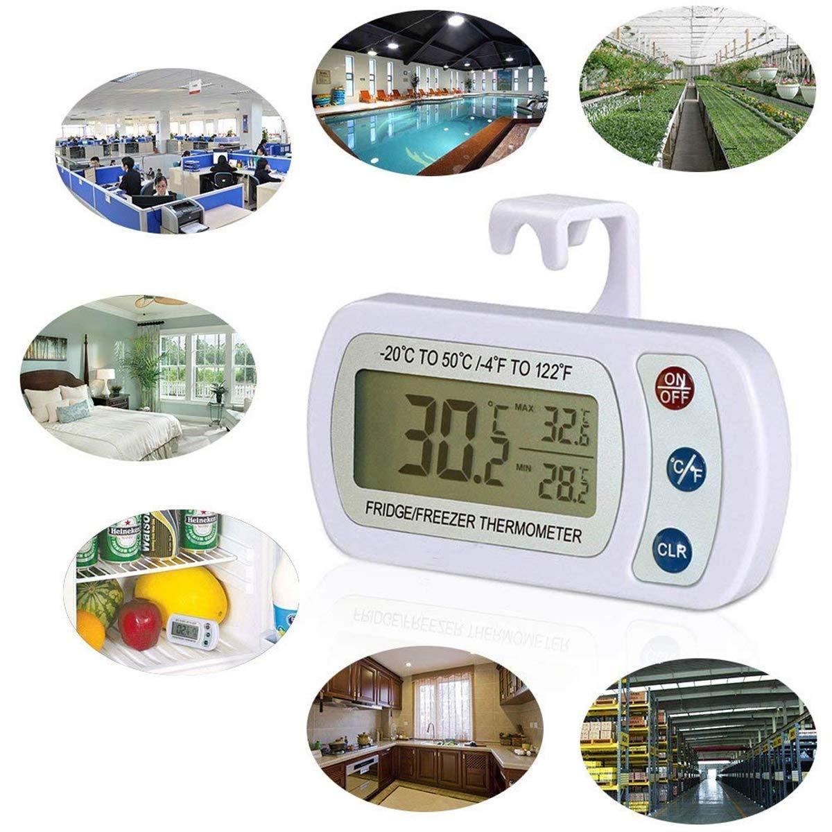 AIGUMI Term/ómetro Digital congelador Impermeable con Pantalla LCD y Easytoread MAX min 2PackWhite