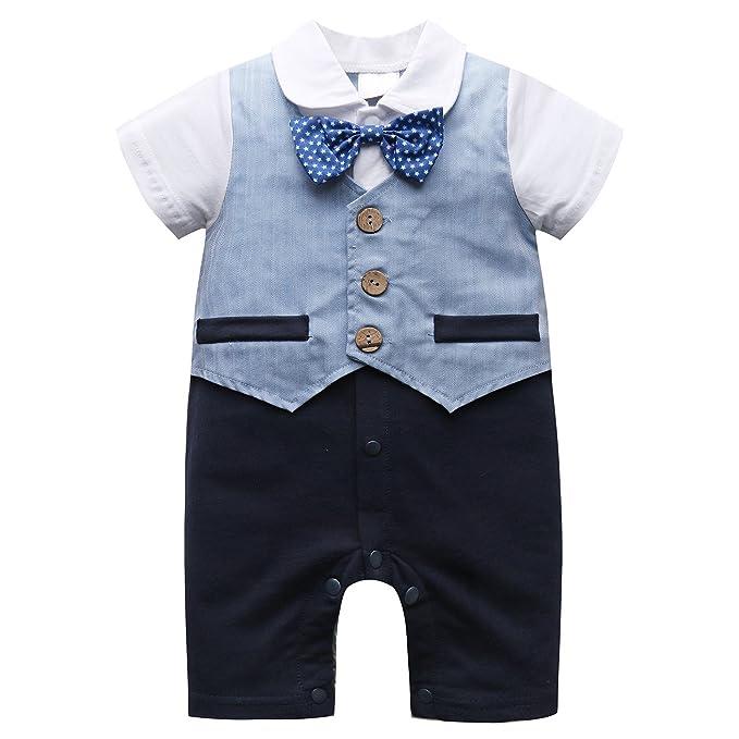 Bebé Pelele de manga corta para hombre infantil Outfit Ropa Set 1 pieza mono con lazo - Azul - : Amazon.es: Ropa y accesorios