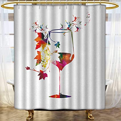 Wine Colored Shower Curtains.Amazon Com Anhounine Winery Fabric Shower Curtains Wine