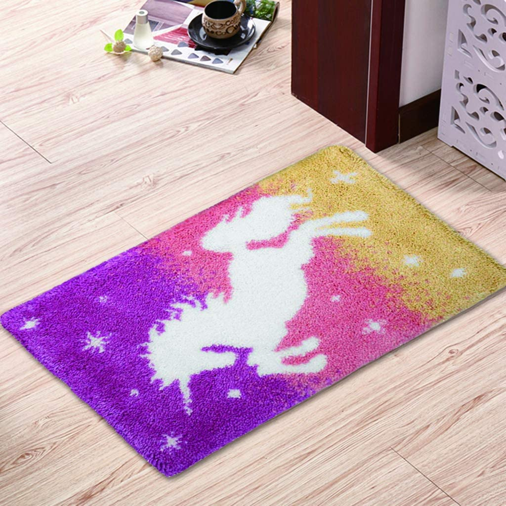 Bonarty DIY Rug Kit Colorful Horse Latch Hook Kits Cushion Cover Rug Making Kits DIY for Kids//Adults with Printed Canvas Pattern 60 x 40cm