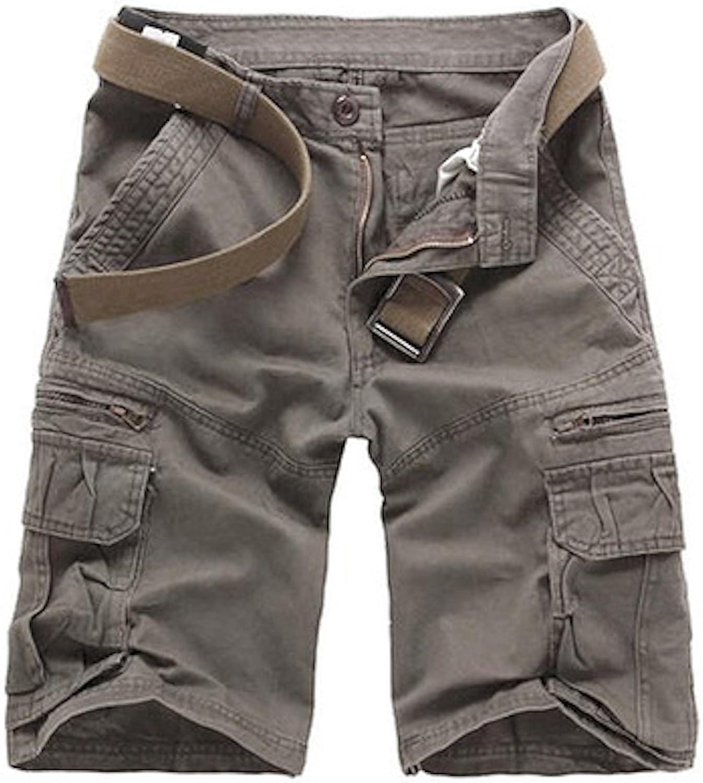 WSLCN - Pantalones cortos de algodón para hombre, estilo militar (sin cinturón): Amazon.es: Ropa y accesorios