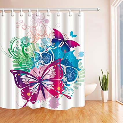 Animal Theme Color Paint Beautiful Butterfly Novelty Personality White Shower Curtain 70 X Inches Waterproof