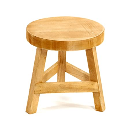 Geko Plain Wood Three Legged Stool Standing At 23cm High, Brown