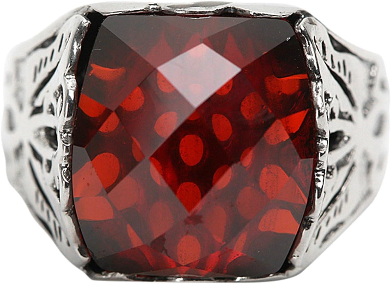 Epinki Plata de Ley 925 Gótico Rojo Zirconia Cúbica Anillo para Hombre para Compromiso y Boda