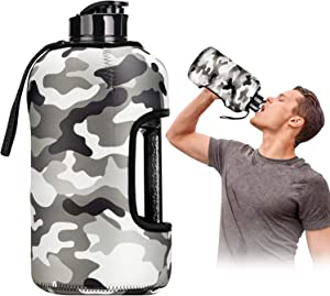 Kaptron Gym Water Bottle with Case - Bodybuilding Water Bottle - Strong Durable 2.2 Litre Water Bottle with Handle - BPA Free Large Half Gallon Sports Water Bottles