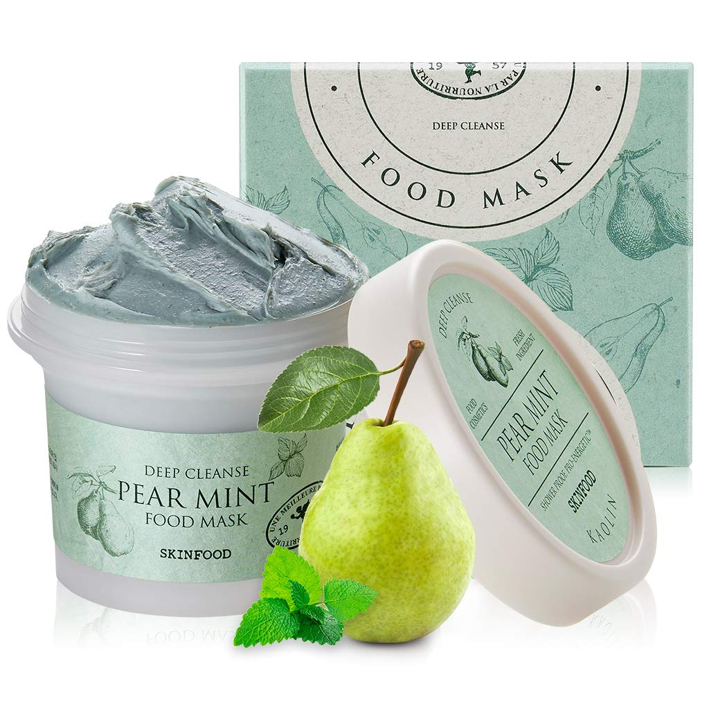 SKINFOOD Pear Mint Food Mask 120g (4.23 oz.) - Pore & Sebum Clearing, Skin Cooling Bubbles Scrub Wash-off Mask with Rice Powder, Soothing & Hydrating, Shower-Proof Texture, Skin Safety Tested
