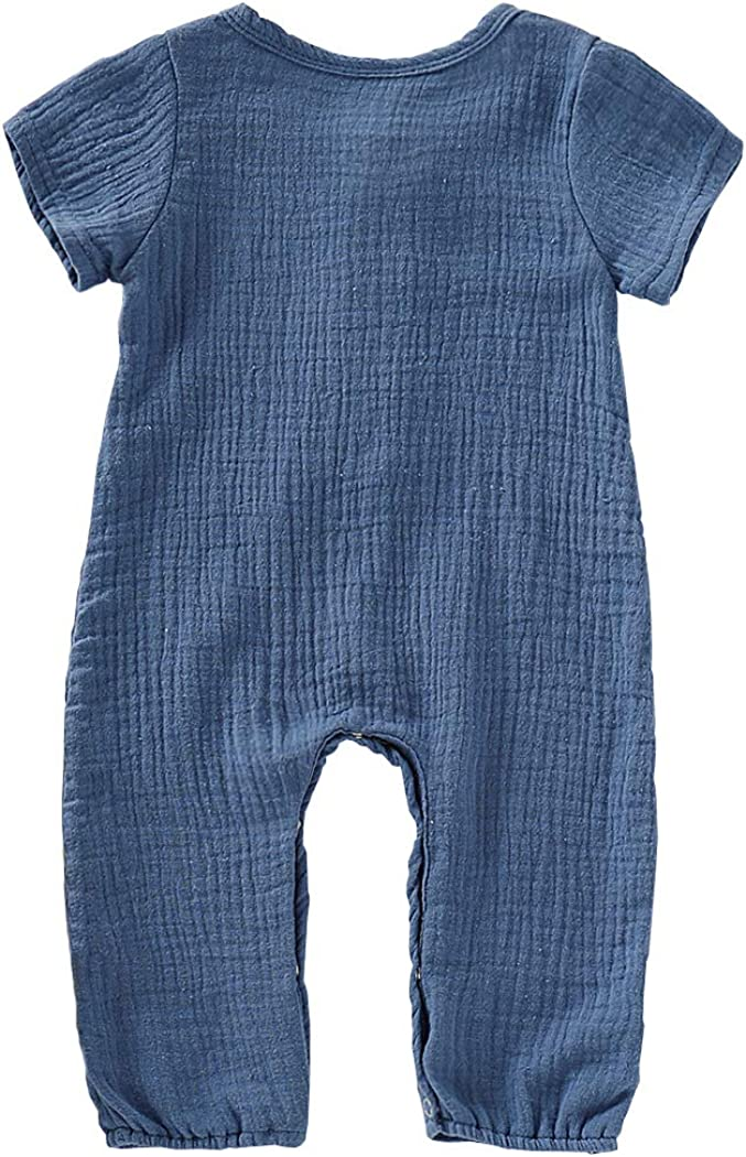 Cotrio Newborn Baby Boys Girls One Piece Romper Outfits Unisex Infant Solid Long Sleeves Jumpsuits Bodysuit Pajamas Set