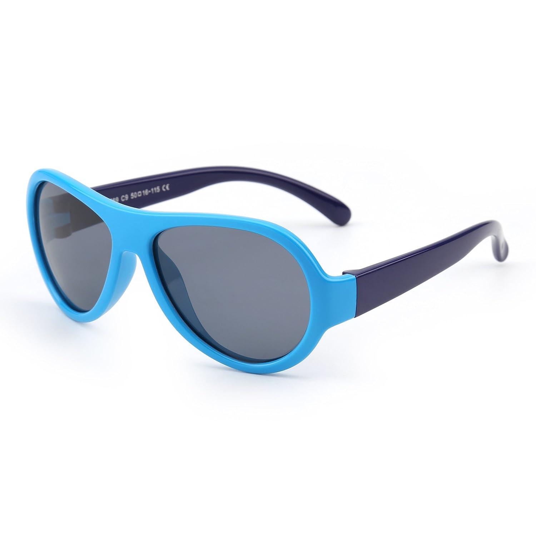 JM Niños Goma Polarizadas Gafas de Sol Irrompible Hijo Chicos Niñas Años 3-12(Azul&índigo/Gris): Amazon.es: Ropa y accesorios