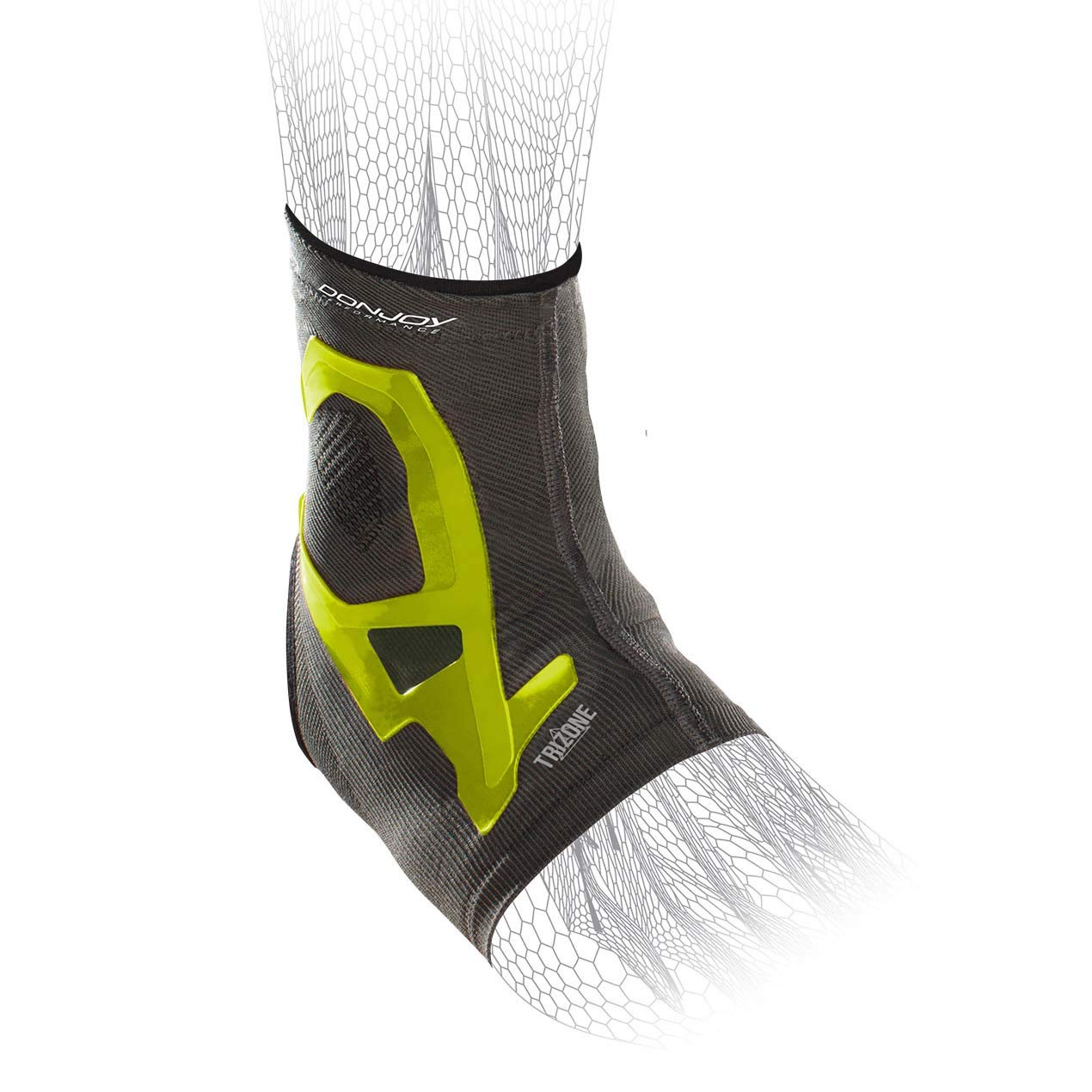 DonJoy Performance TRIZONE Compression: Ankle Support Brace, Slime Green, Large