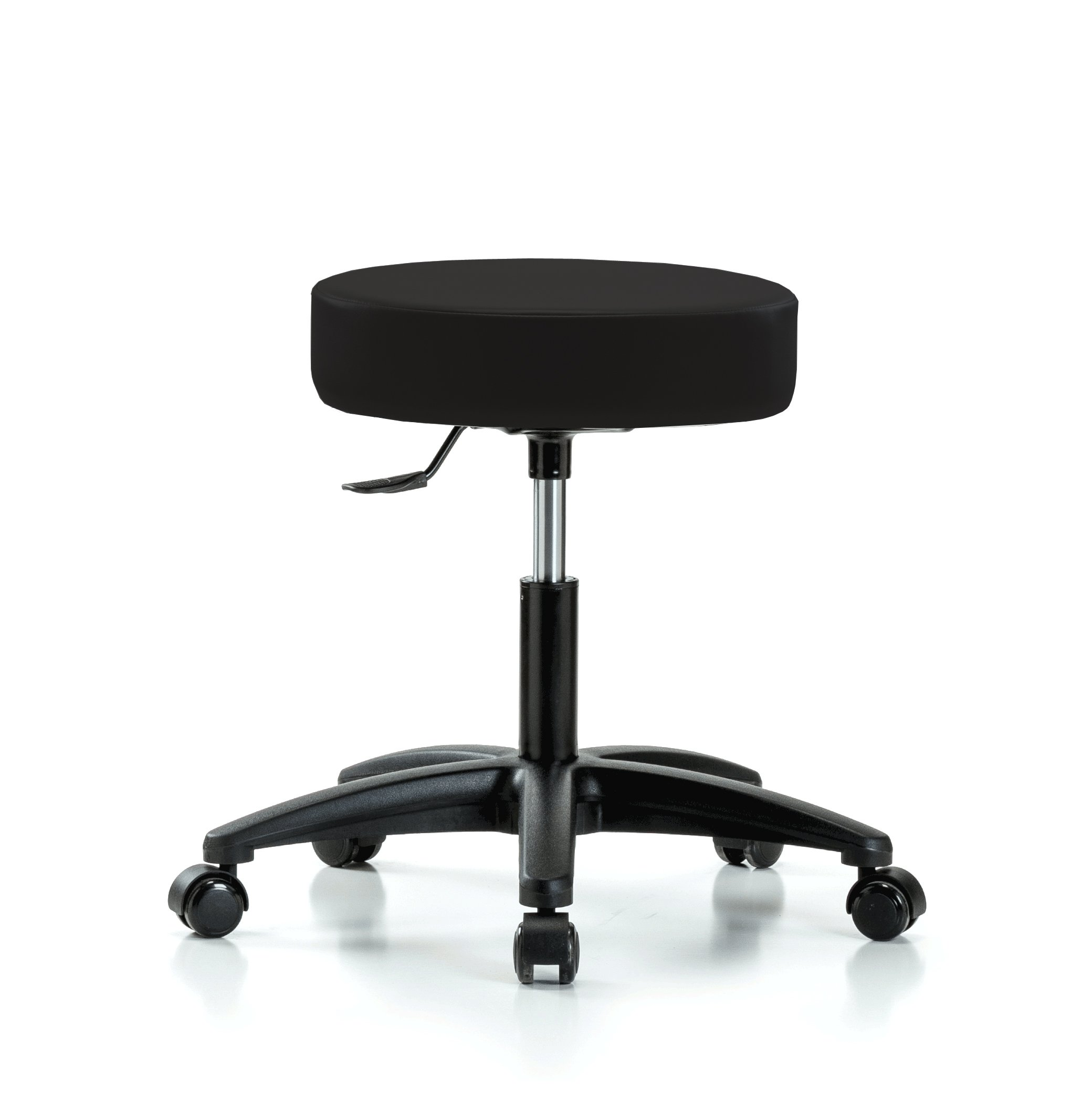 Perch Rolling Single Lever Height Adjustable Swivel Stool for Salon, Spa, Massage, Office, Home or Workshop 18'' - 23'' (Soft Floor Casters/Black Vinyl)