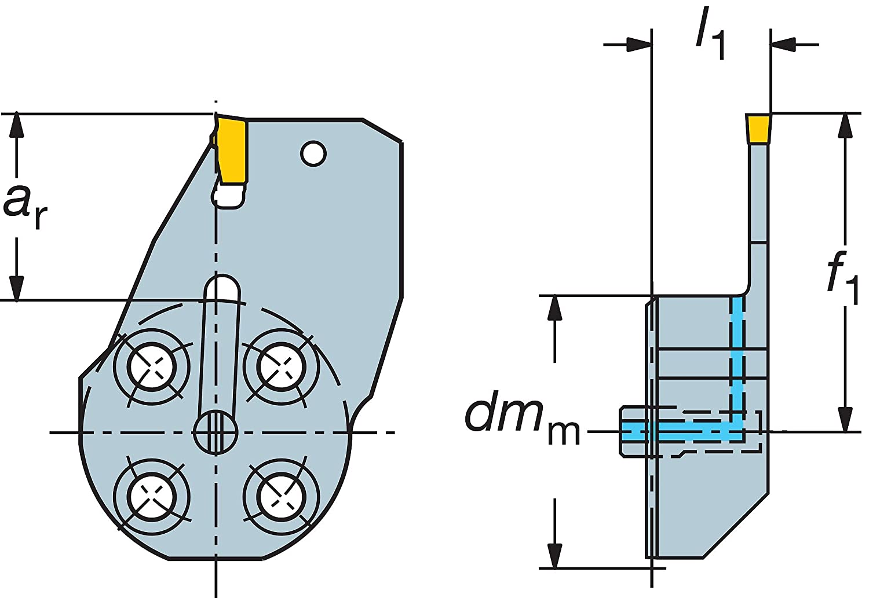 Sandvik Coromant 570-32L151.21-20-25 Steel T-Max Q-Cut Head for Grooving Holder 0.79 Maximum Depth of Cut