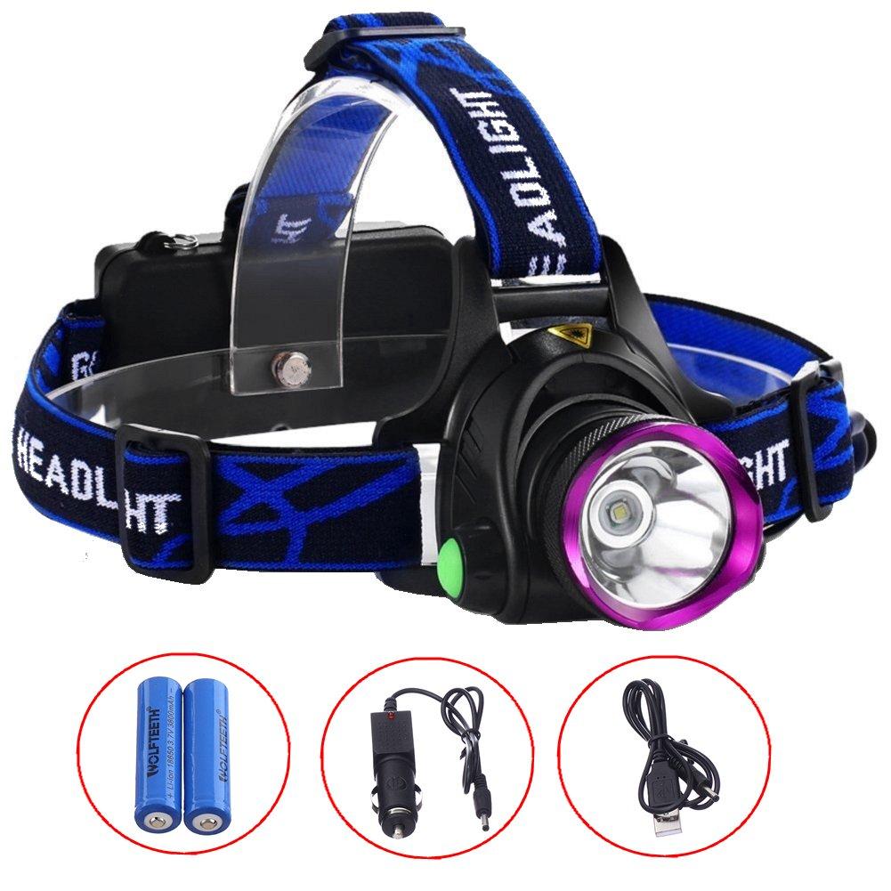 WOLFTEETH 4009N 超明るい 1200Lm LED ヘッドライト Cree ヘッドランプ【2x18650電池 USB充電+車用充電器】 ブラック