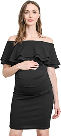 Laclef Women S Off Shoulder Maternity Dress With Double Ruffle At Amazon Women S Clothing Store