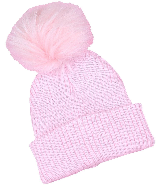 BabyPrem Baby Girl Toddler Woolly Hat Pom Pom Winter Clothes Rib Knit Pink White