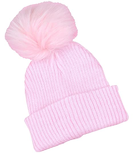 BabyPrem Baby Girl Toddler Woolly Hat Pom Pom Winter Clothes Rib Knit PINK  6-12 df21d9c9215
