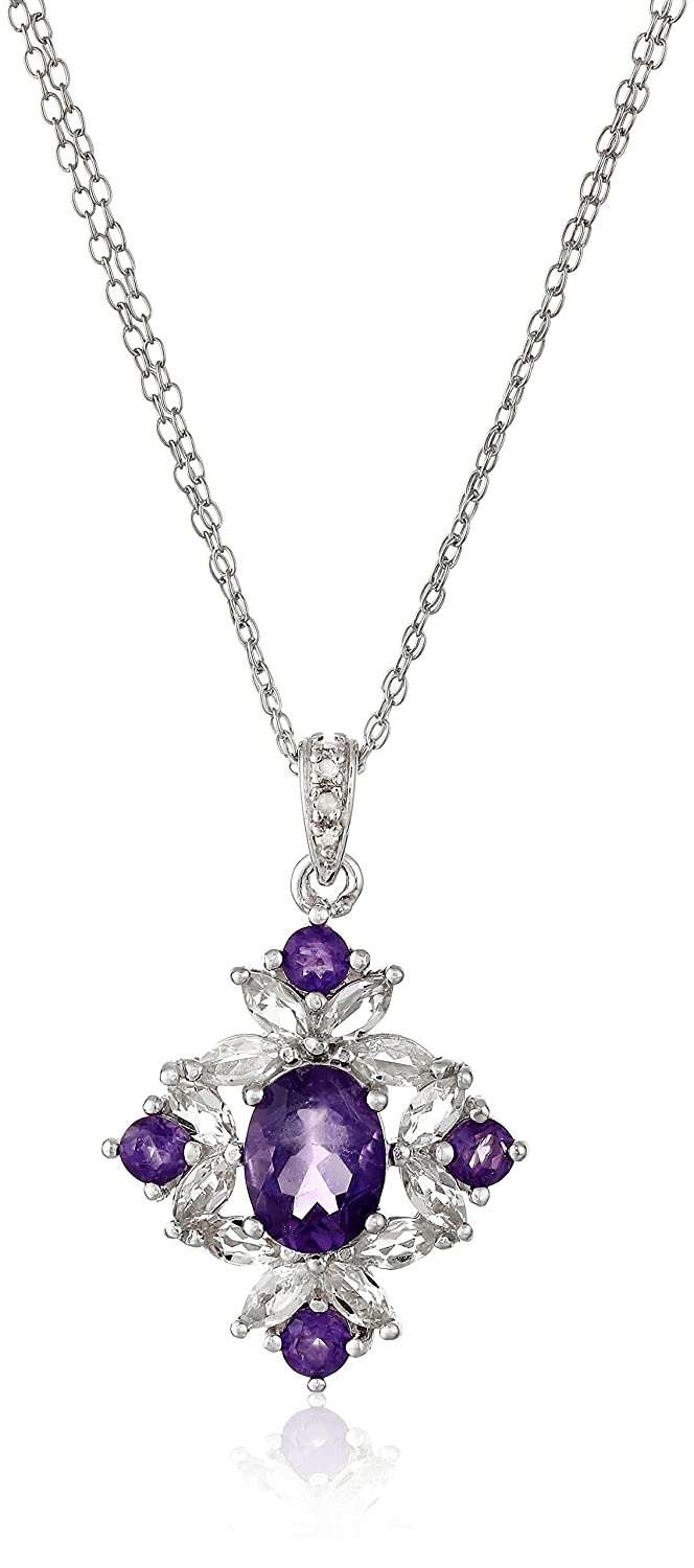 amazon necklace accent diamond shape co dp amethyst purple jewellery heart uk plated rhodium pendant