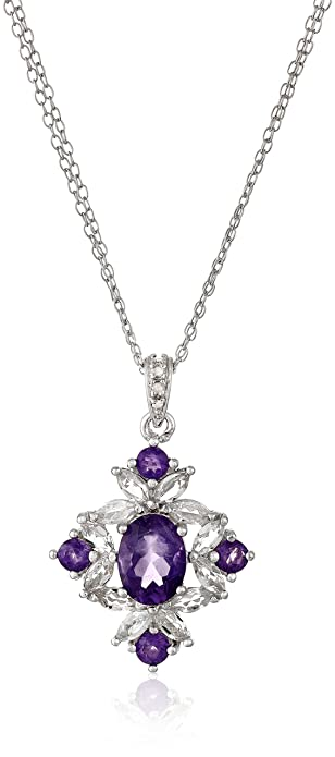 Simulated Amethyst Floral Necklace Size 18 with 2 inch Extender in Yellow Gold Tone RWDhJNnPY