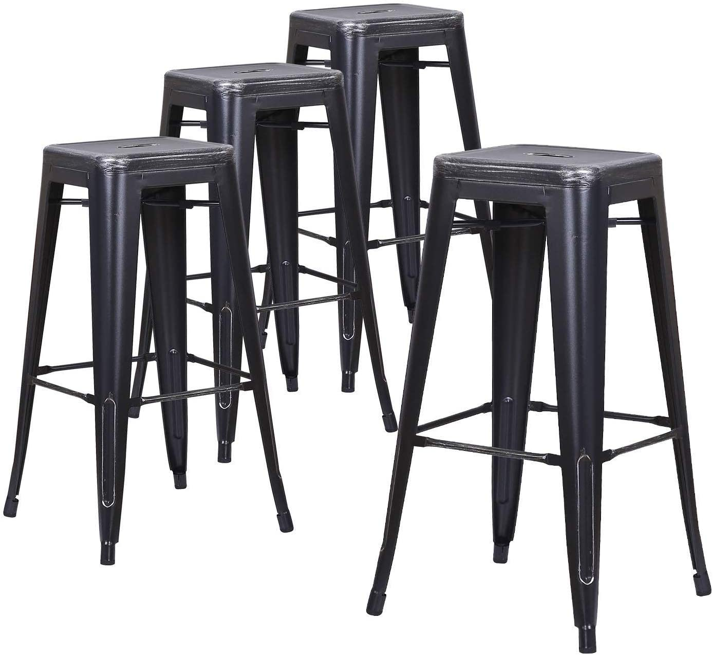 LCH 30 Metal Industrial Backless, Set of 4 Indoor Outdoor Counter Stackable Bar stools, 30 Inch, Silver Sanded Black
