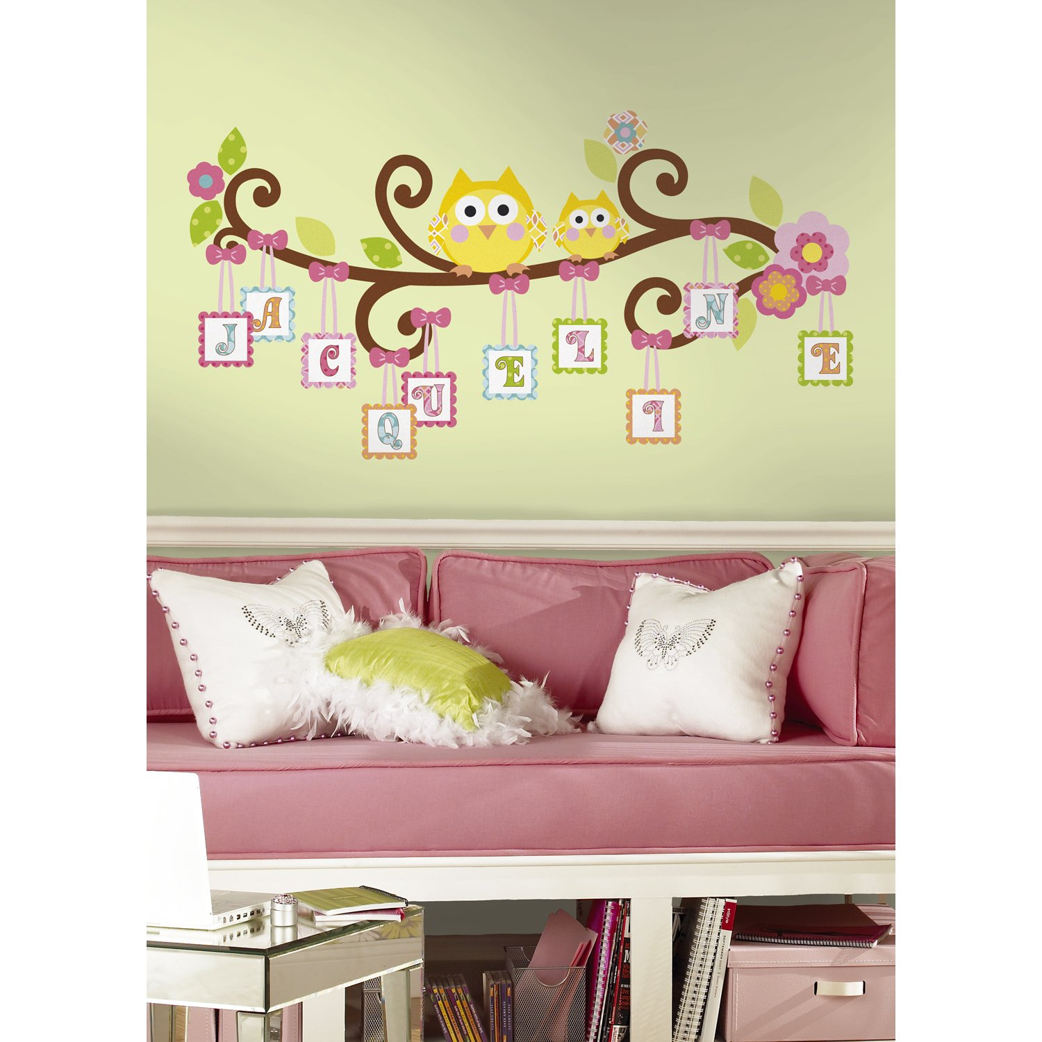 Amazon.com: Owls on Branches Fabric Wall Decal - Pink - Set of 3 ...