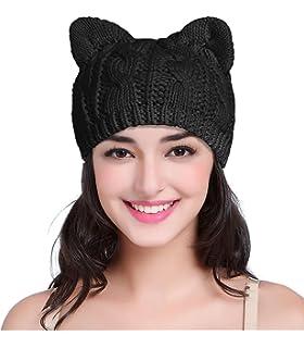5e53d688f39 v28 Women Men Girls Boys Teens Cute Cat Ear Knit Cable Rib Hat Cap Beanie