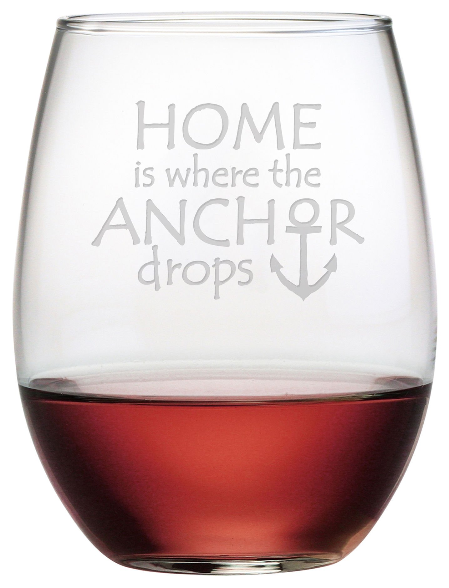 Susquehanna Glass Home Is Where the Anchor Drops Stemless Wine Goblet