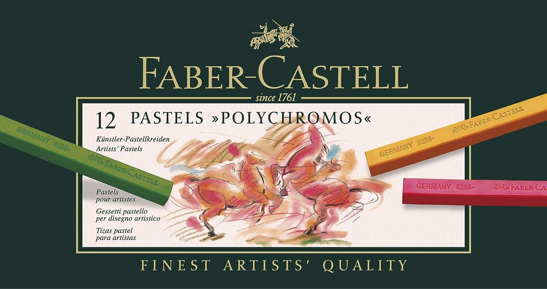 Faber-Castell 128512 - Estuche de cartón con 12 tizas pastel polychromos, multicolor: Amazon.es: Oficina y papelería