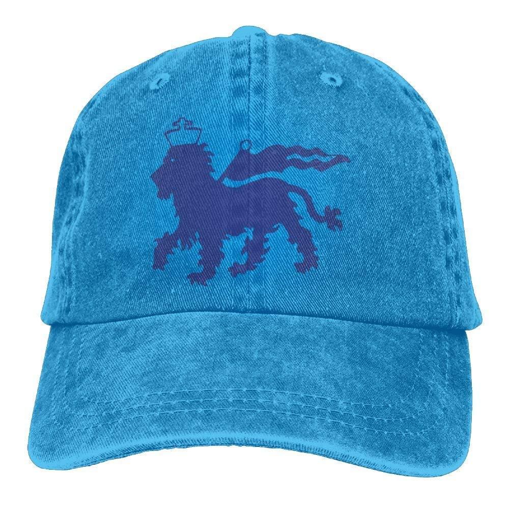 LINGVYTE Blue Ethiopian Flag Lion Denim Hat Adjustable Men Flag Baseball Cap